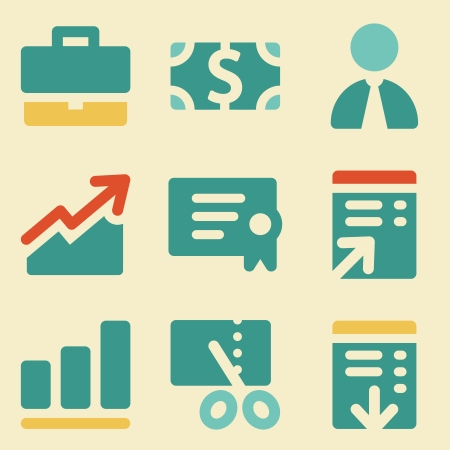 Finance web icons retro color series Ilustração