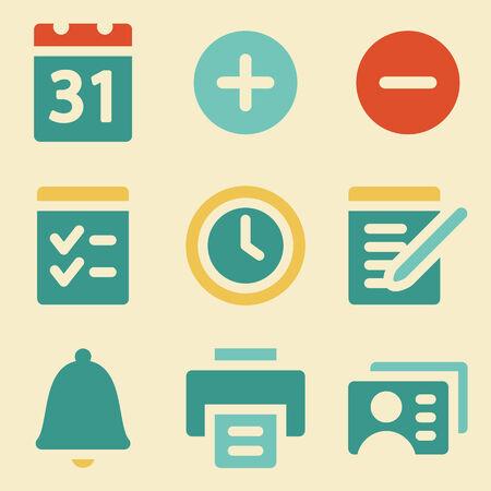 Organizer web icons retro color series Vector