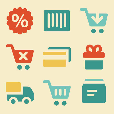 credit cart: Shopping web icons retro color series