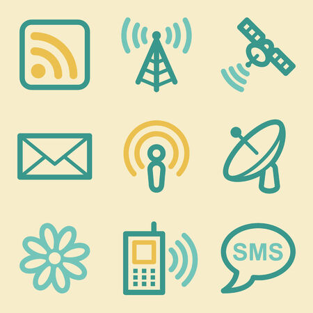access point: Communication web icons, retro colors