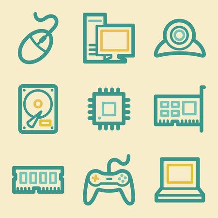 webcamera: Computer web icons, retro colors Illustration