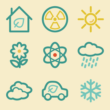 Ecology web icons, retro colors Stock Vector - 25415437