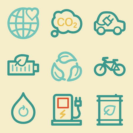 electro world: Ecology web icons, retro colors