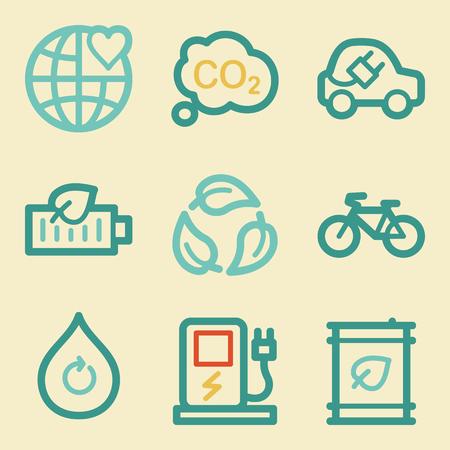 Ecology web icons, retro colors