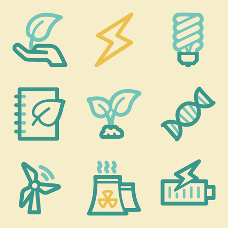 Ecology web icons, retro colors Vector