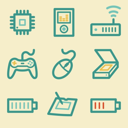 Electronics web icons, retro colors Vector