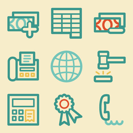 Finance web icons, retro colors Vector