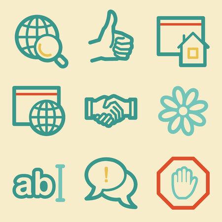 icq: Internet web icons, retro colors
