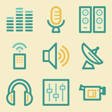 Media web icons, retro colors Vector