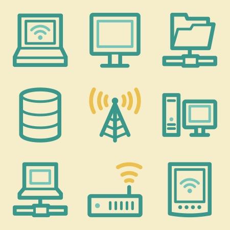 nettop: Network web icons, retro colors