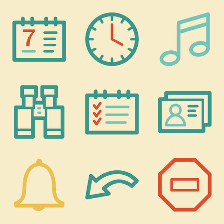 Organizer web icons, retro colors Vector