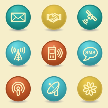 access point: Communication web icons, retro buttons Illustration