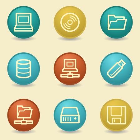 fdd: Drive storage web icons, retro buttons Illustration