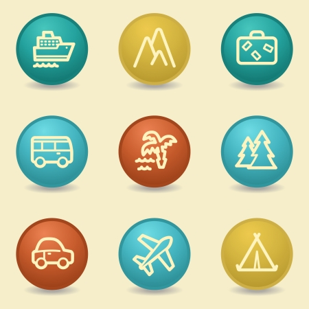 air liner: Travel web icons, retro buttons