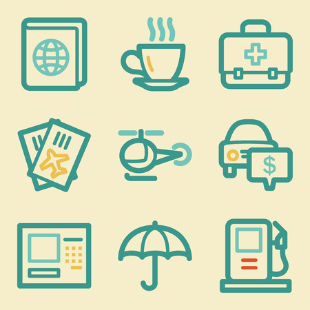 Travel web icons, retro colors Vector
