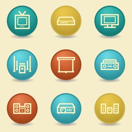 Audio video web icons, retro buttons Vector