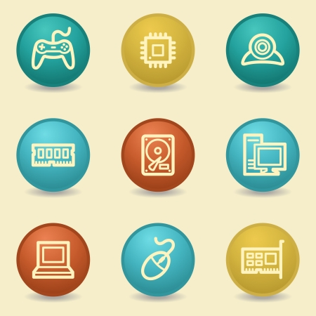 Computer web icons, retro buttons