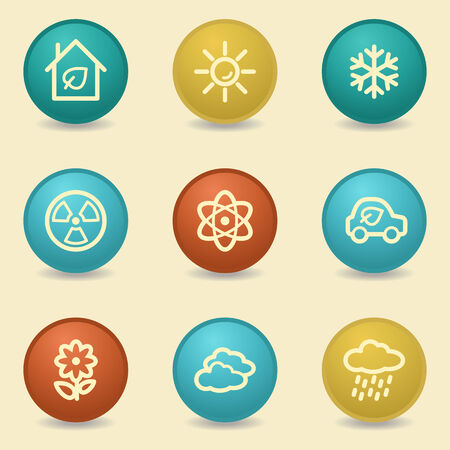 Eco web icons, retro buttons Vector