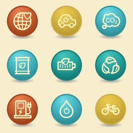 Eco web icons, retro buttons
