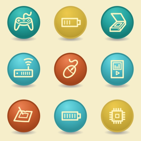Electronics web icons, retro buttons Vector
