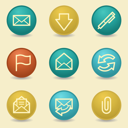 webmail: E-mail web icons, retro buttons Illustration