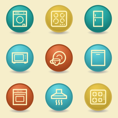 Home appliances web icons, retro buttons Vector