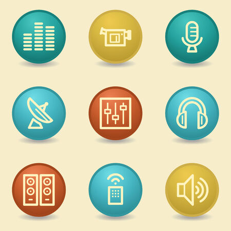 Media web icons, retro buttons Vector