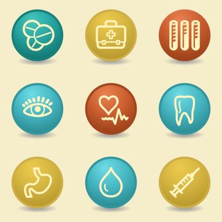 Medicine web icons, retro buttons Vector