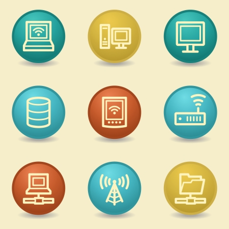 Network web icons, retro buttons
