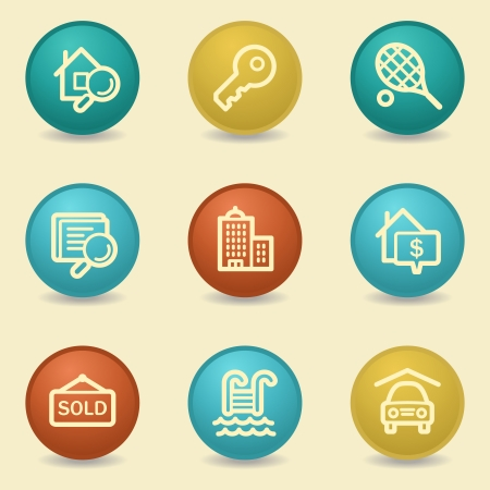 swimming pool home: Real estate web icons, retro buttons Illustration