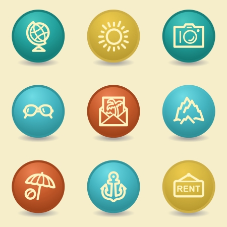 Travel web icons, retro buttons Vector