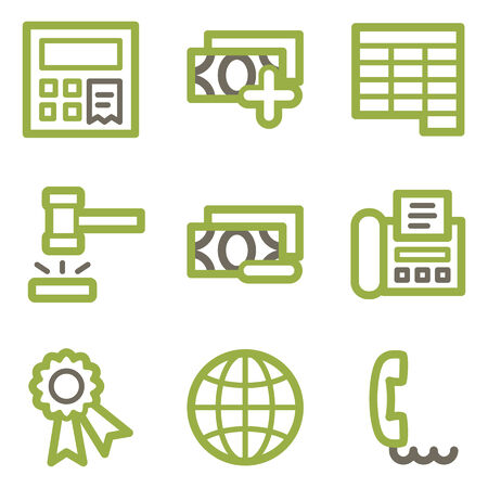 Finance icons, green line contour series Vector