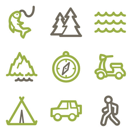 Travel icons, green line contour series Vector