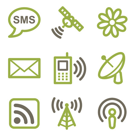 access point: Communication icons, green line contour series