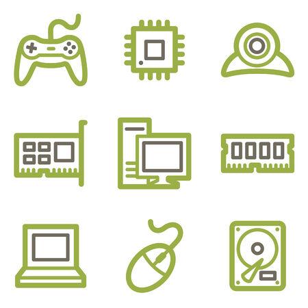 webcamera: Computer icons, green line contour series