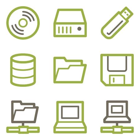 fdd: Drive storage icons, green line contour series Illustration