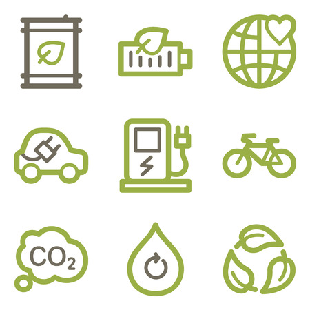 Ecology icons, green line contour series Vector