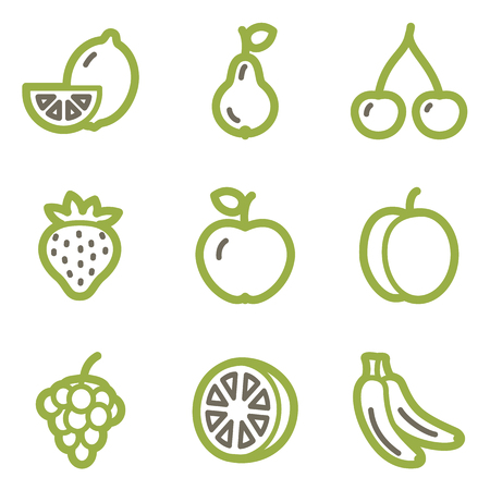 Fruits icons, green line contour series Vector