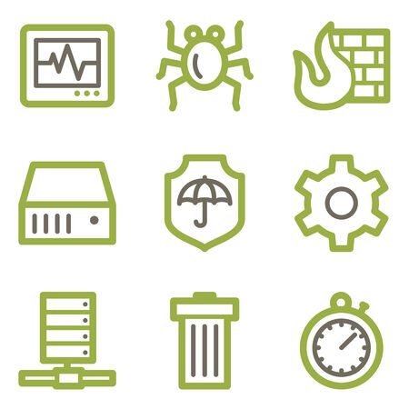 Internet security icons, green line contour series Vector