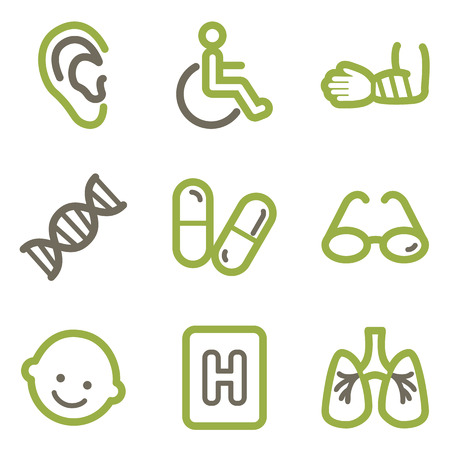 traumatic: Medicine icons, green line contour series Illustration