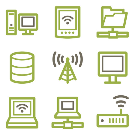 Network icons, green line contour series Illustration