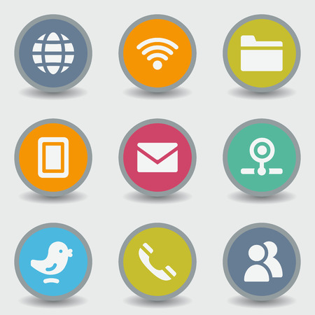 icon contact: Communication web icons, color circle buttons Illustration