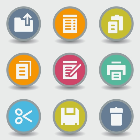 Document web icons, color circle buttons Vector