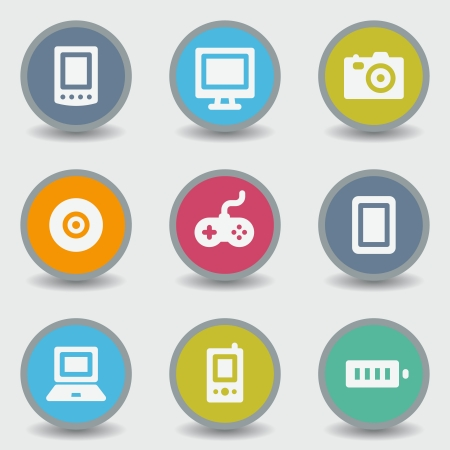 Electronics web icons, color circle buttons Vector