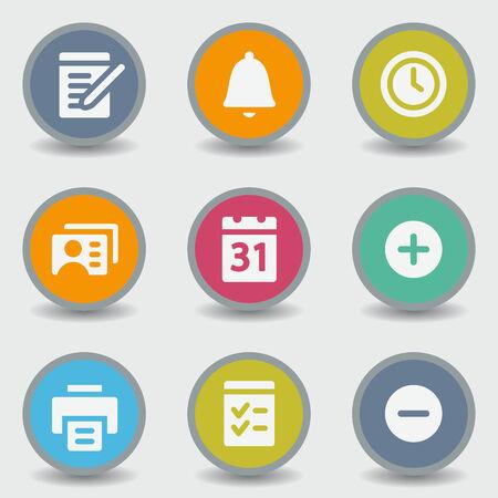 Organizer web icons, color circle buttons Vector