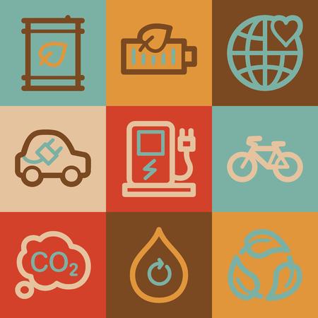 Ecology web icons, vintage series Stock Photo