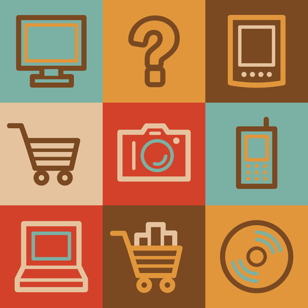 Electronics web icons, vintage series photo