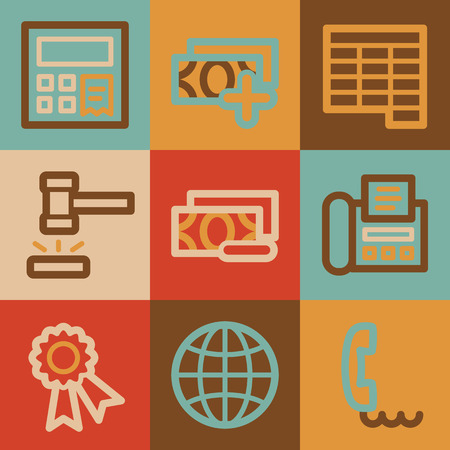 Finance web icons, vintage series photo
