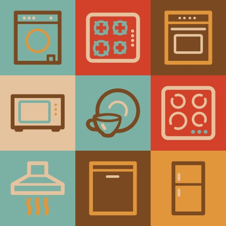 Home appliances web icons, vintage series photo