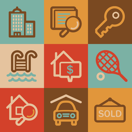 swimming pool home: Real estate web icons, vintage series Stock Photo